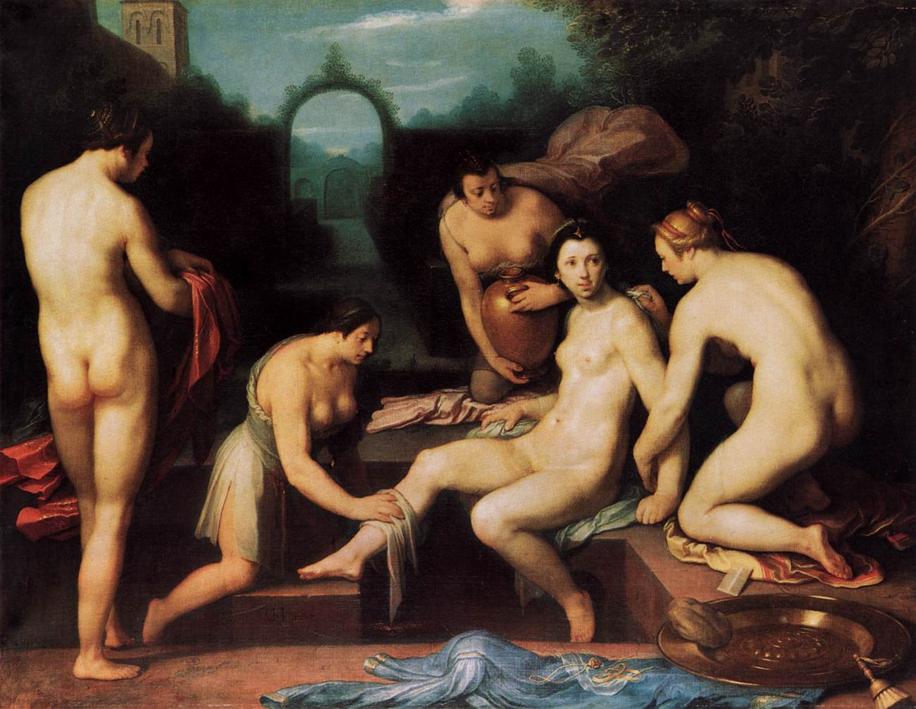 Old painting of a woman being washed by several other people