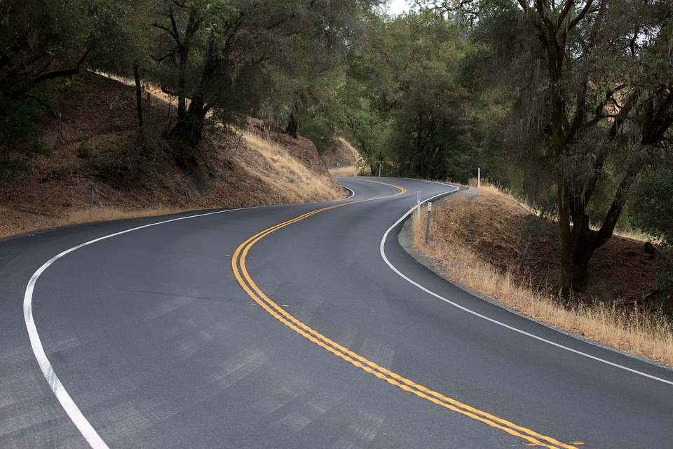 Picture of a curvy road through the woods