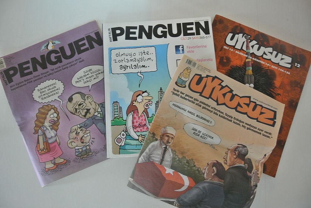 "Picture of Turkish satircal magazines ""Penguen"" and ""Uykusuz"""