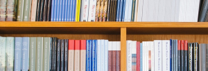 Picture of a row of books on a shelf