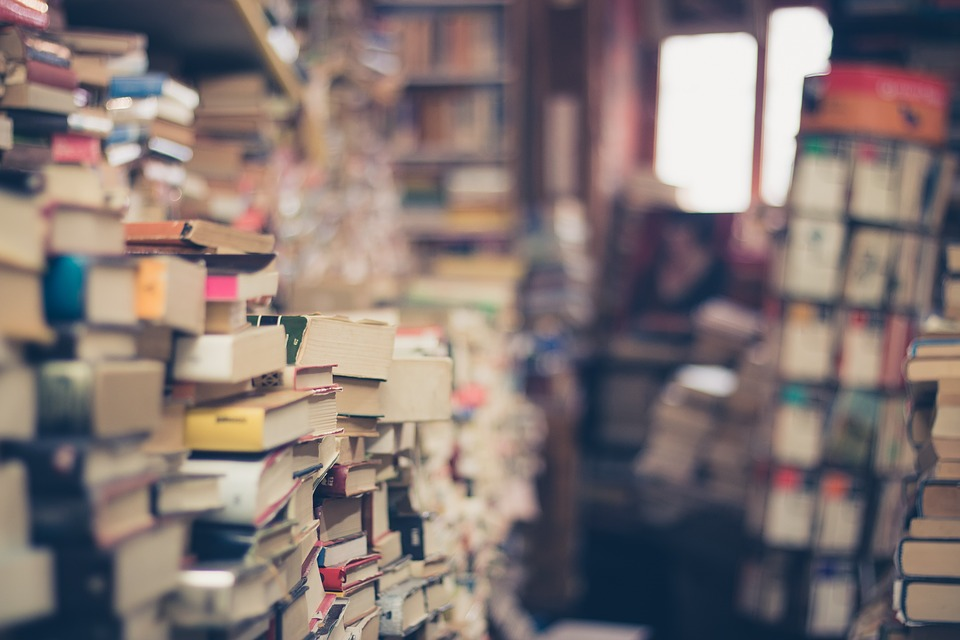 Picture of a many stacks of books forming a small passway