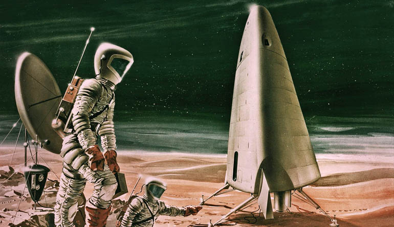Illustrations of two astronauts on another planet