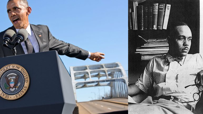 Picture of Barack Obama at the Edmund Pettus Bridge in Alabama