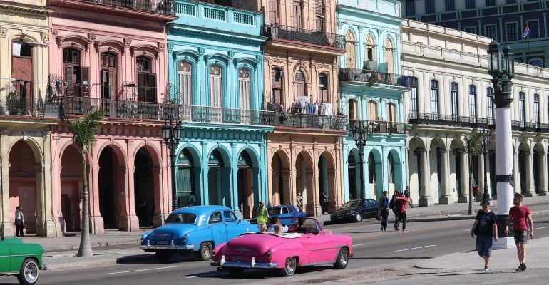 Picture of a colorful street in Cuba