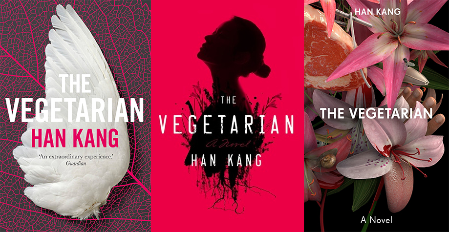 Side by side covers of the vegetarian by Han King