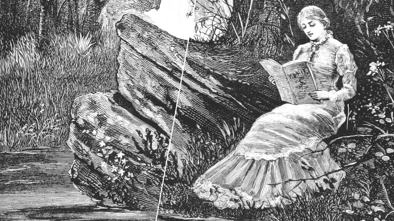 Sketch of Victorian Woman sitting by a creek reading.