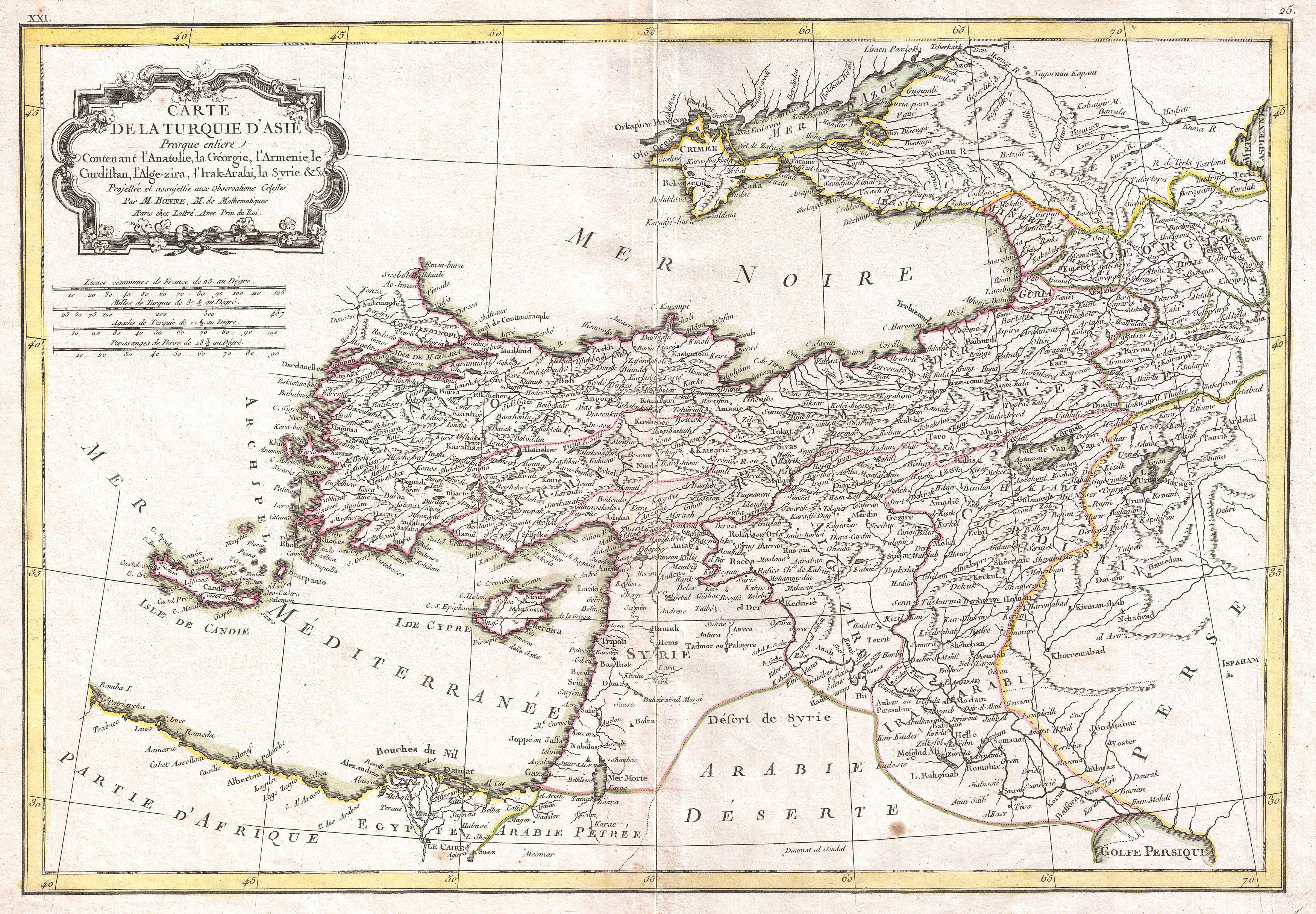 Old map of Turkey.