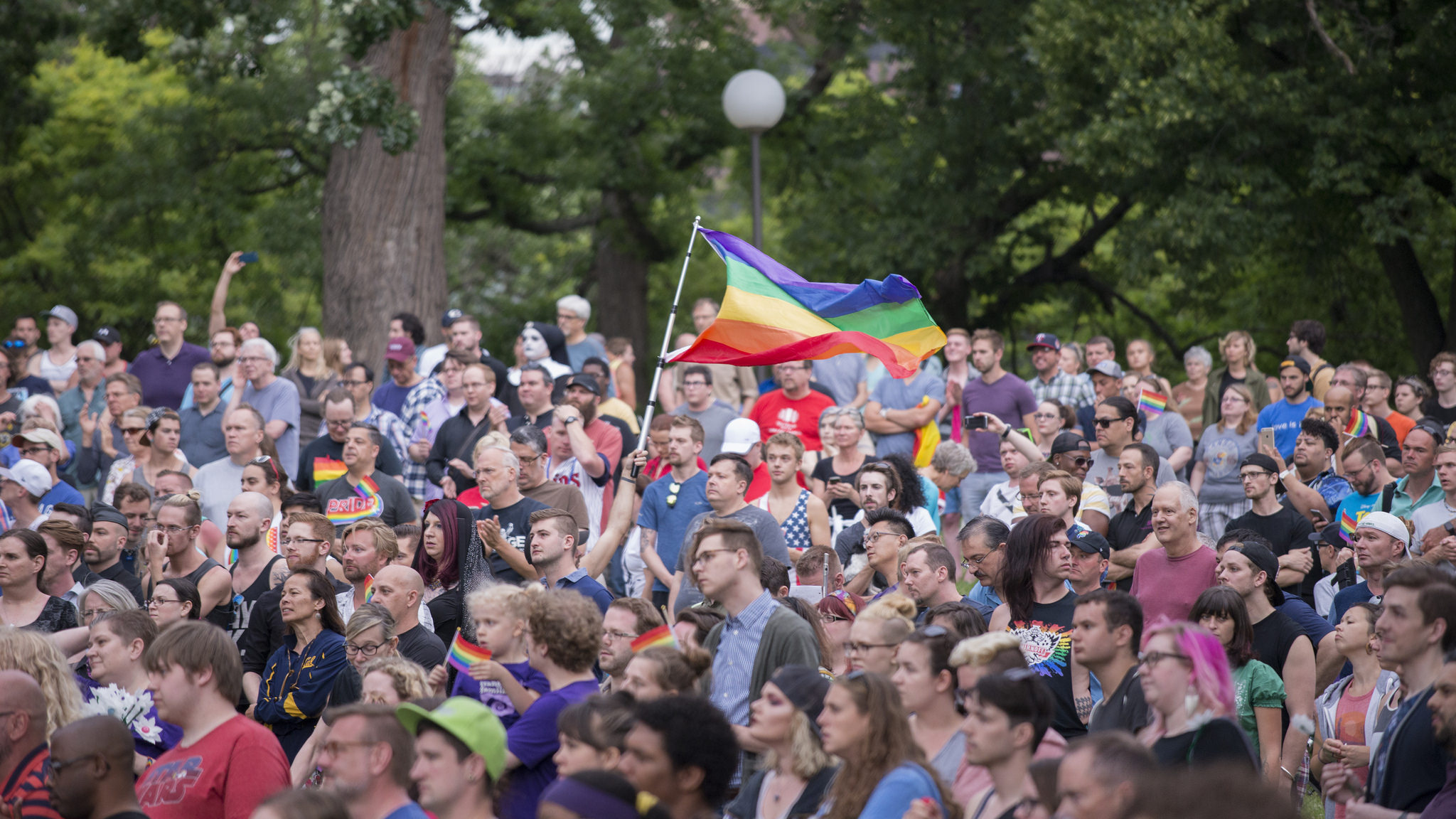 Picture of a crowd at Pride Parade. A lot of gay flags waving around.