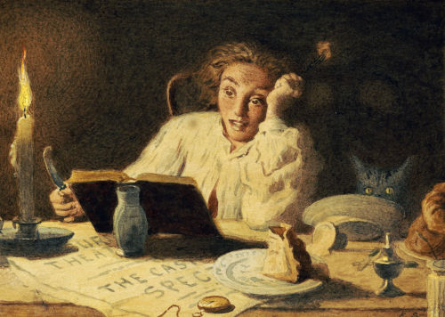 Painting of a woman with a frightened expression reading by the candlelight.