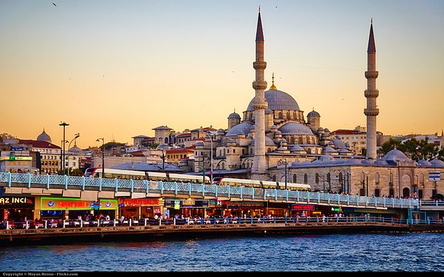 Picture of the city of Istanbul during the sunset.