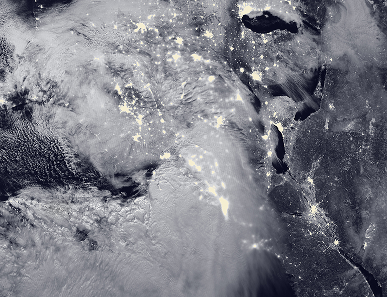 Aerial picture of a winter storm over the United States