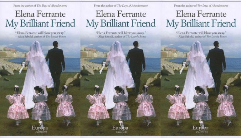 The cover of the book My Brilliant Friend side by side.