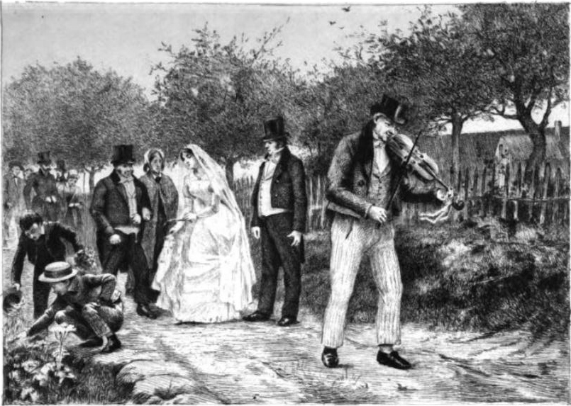 Old Madame Bovary illustration. A group of people walking behind a man playing the violin on a dirt road.