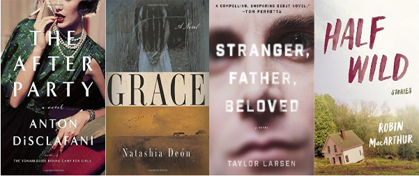 Side by side book cover of The After Party, Grace, Stranger Father Beloved, and Half Wild
