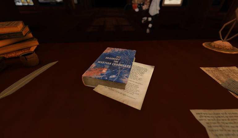 Picture of an old copy of The Martian Chronicles on a table