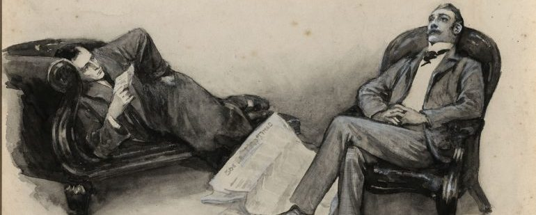 Illustration of a man lying on a couch while another sits on a chair next to it.