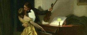 Painting of a couple kissing by the piano.