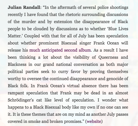 except from an interview with Julian Randall