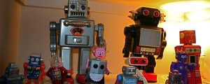 Picture of a group of robot figurines.
