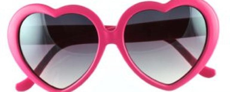 Picture of a pair of Heart-Shaped Pink Sunglasses