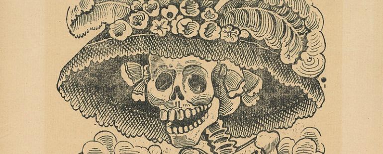 grinning skeleton in flowered hat