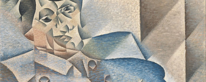 A portrait of Pablo Picasso by himself in the cubist style.