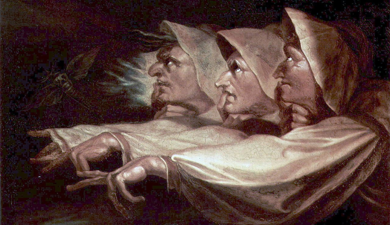 Painting of three old women pointing away from the painter.