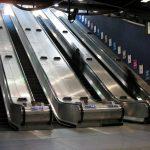 Upwards escalators.