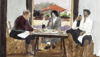 Painting of three people sitting at a table.