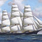 A painting of a ship