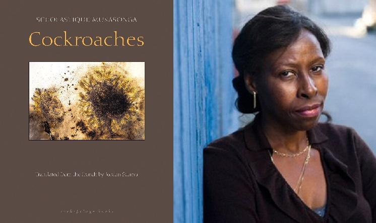 """On the left is the cover of the book entitled """"Cockroaches"""" and on the right is a woman leaning against a wall and posing for the camera."""