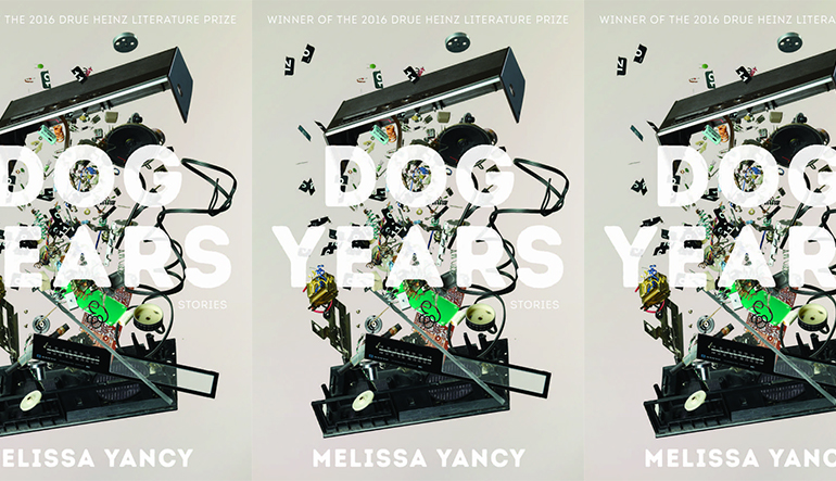 Book cover of Dog Years by Melissa Yancy showing various small trinkets behind the title, repeated three times.