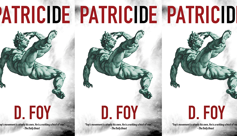 Book cover of Patricide by D. Foy with a green statue leaning backwards in the center, repeated three times.
