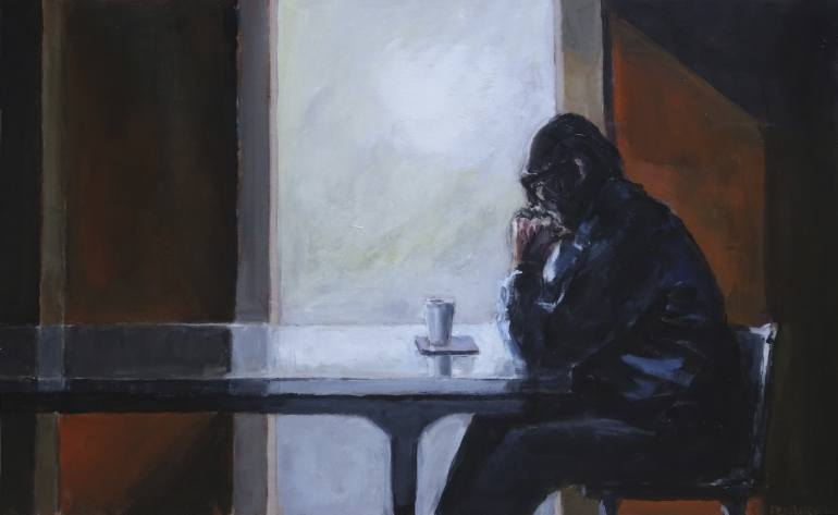 grief painting: man sitting sadly by window