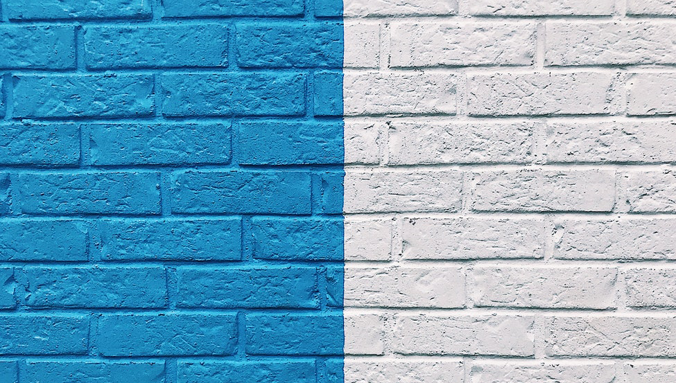 a blue and white wall