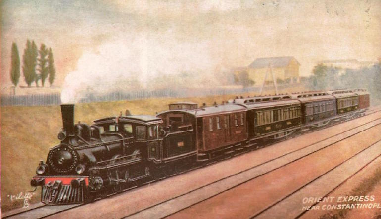 Old photograph of a steam train.