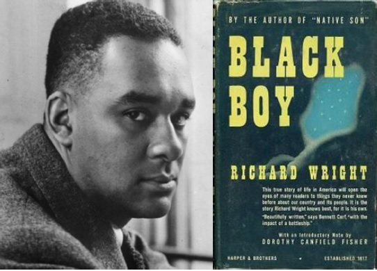 On the left is a man posing for the camera. On the right is the book cover for Black Boy by Richard Wright with some blue abstract art.