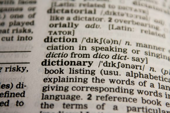 Photo of the dictionary definition of the word dictionary.