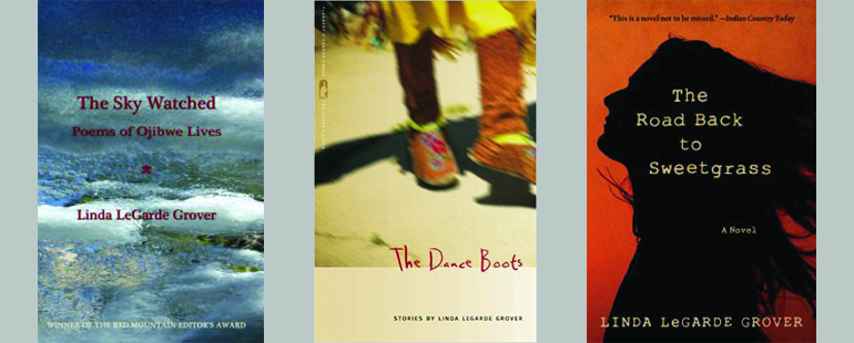 """Three book covers titled """"The Sky Watched,"""" """"The Dance Boots,"""" and """"The Road Back to Sweetgrass."""""""