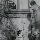 man and dog in vintage photo
