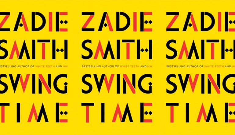 """Yellow book cover repeating three times with the text """"Zadie Smith Swing Time"""" in red and black lettering."""