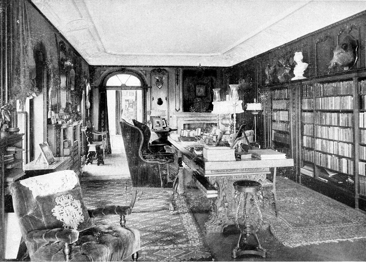 Photograph of an old private library.