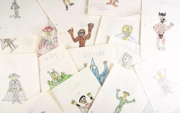 Cartoon drawings of monsters.