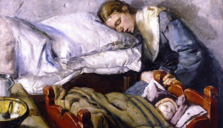 christian-krohg-sovende-mor-med-barn-1883