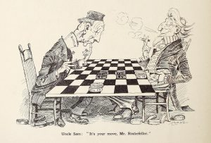 Cartoon drawing of two men playing checkers and smoking.