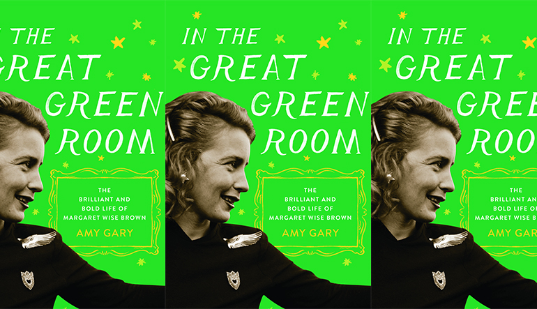 """Book cover for """"In the Great Green Room"""" which is a green background with the side profile of a woman."""
