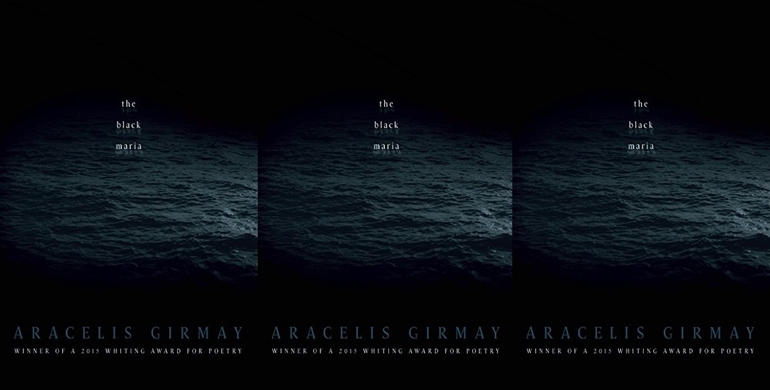 """Book cover for """"The Black Maria"""" with the text over a dark stormy sea."""