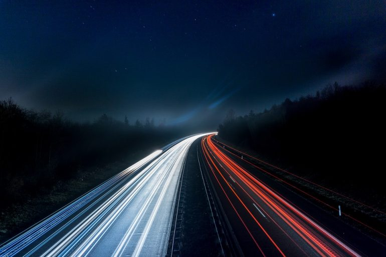 Spotlight Highway Road Lights Night Long Exposure