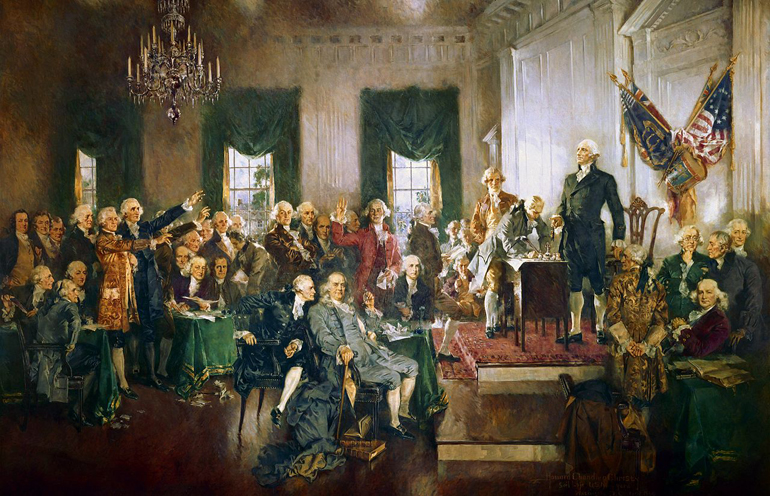 scene at the signing of the constitution of the united states painting