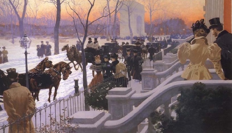 Painting of people waiting for horse-drawn carriages in the snow.